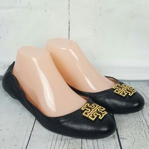Tory Burch Reva Black Pebbled Leather Flats 8M